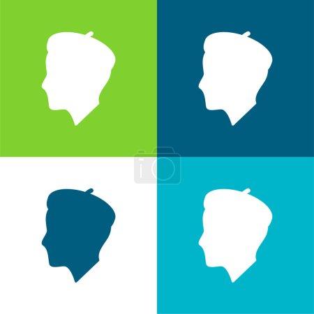 Illustration for Artist Profile Flat four color minimal icon set - Royalty Free Image