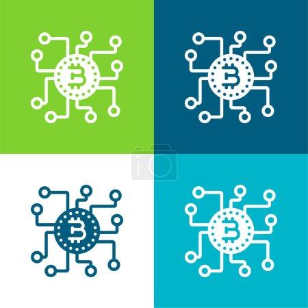 Bitcoin Flat four color minimal icon set