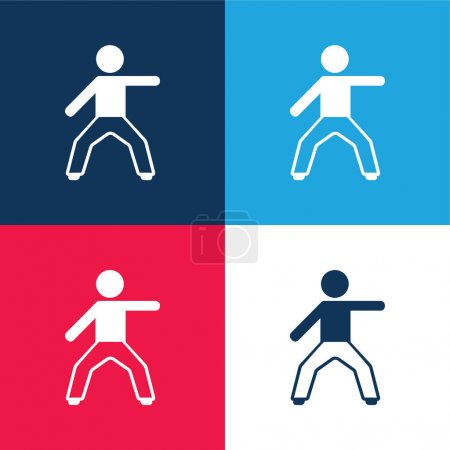 Boy Stretching Left Arm blue and red four color minimal icon set