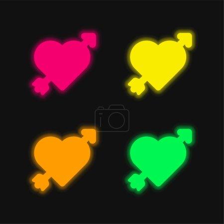 Arrow four color glowing neon vector icon