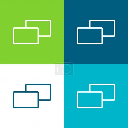 Photo pour Ensemble d'icônes minimum 4 couleurs plates 2 carrés - image libre de droit