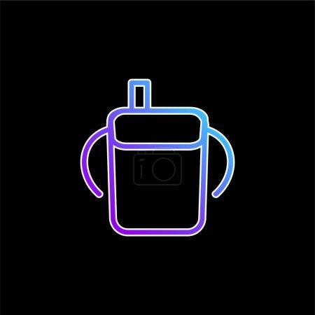 Photo pour Bébé bouteille à boire contour avec poignées latérales bleu dégradé icône vectorielle - image libre de droit