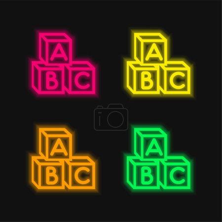 Bébé Abc Cubes quatre couleurs brillant néon vecteur icône