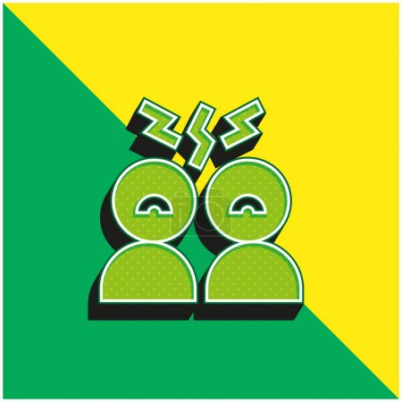 Angry Green and yellow modern 3d vector icon logo