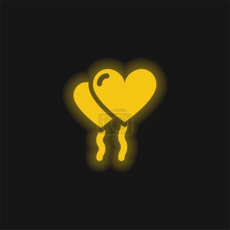 Illustration pour Ballons jaune brillant icône néon - image libre de droit