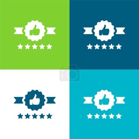 Illustration for Badge Flat four color minimal icon set - Royalty Free Image