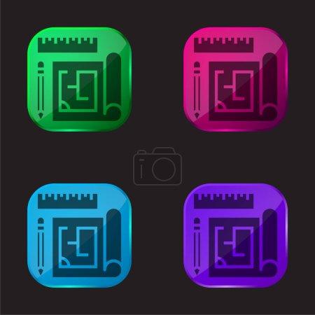 Blueprint icône bouton en verre quatre couleurs