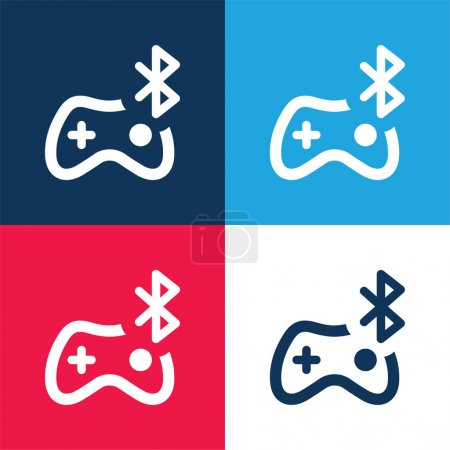 Bluetooth blue and red four color minimal icon set