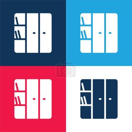 Illustration pour Bibliothèque bleu et rouge ensemble d'icônes minimes quatre couleurs - image libre de droit