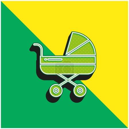 Illustration pour Poussette bébé Logo vectoriel 3D moderne vert et jaune - image libre de droit