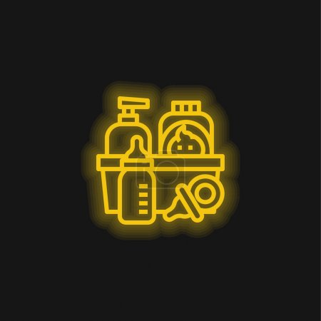Baby Products yellow glowing neon icon