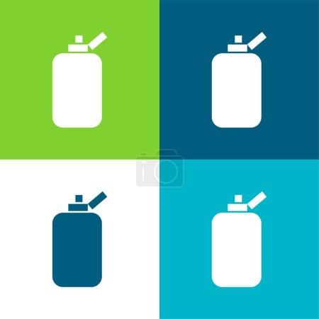 Photo pour Conteneur de bouteille de salle de bains de forme noire rectangulaire arrondie Ensemble d'icône minimal plat de quatre couleurs - image libre de droit