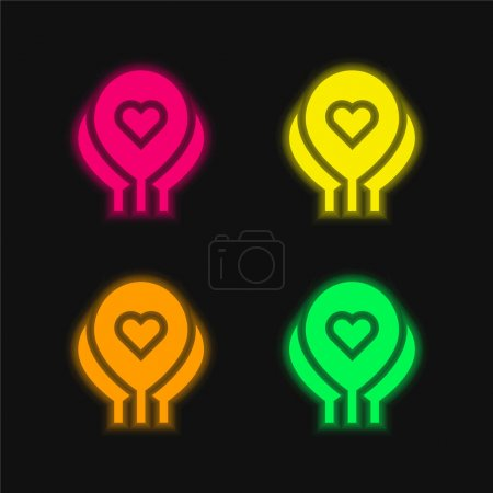 Balloons four color glowing neon vector icon