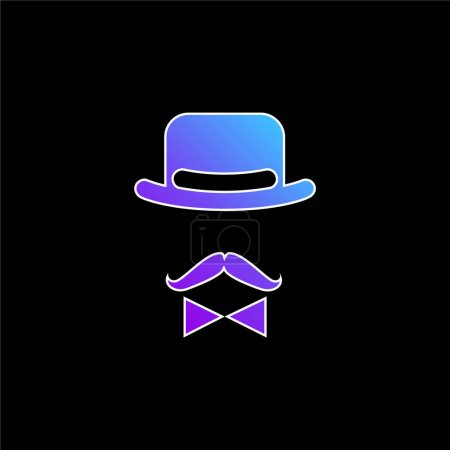 Illustration for Antique Male Character Of A Hat A Bow And A Mustache blue gradient vector icon - Royalty Free Image