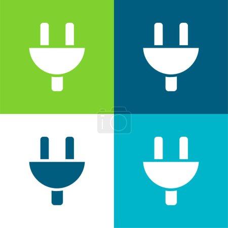 Illustration pour Tête de prise noire Ensemble d'icônes minimal quatre couleurs - image libre de droit