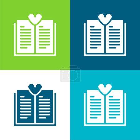 Illustration pour Livre plat quatre couleurs minimum jeu d'icônes - image libre de droit