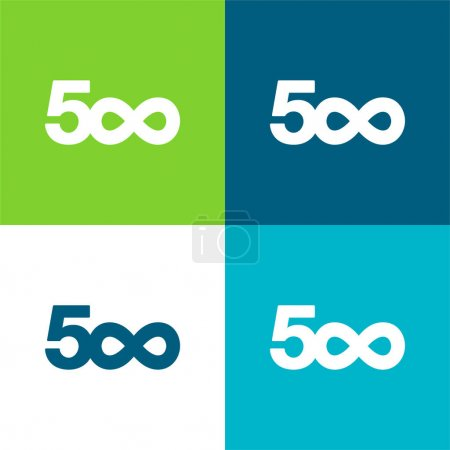 Illustration for 500px Flat four color minimal icon set - Royalty Free Image