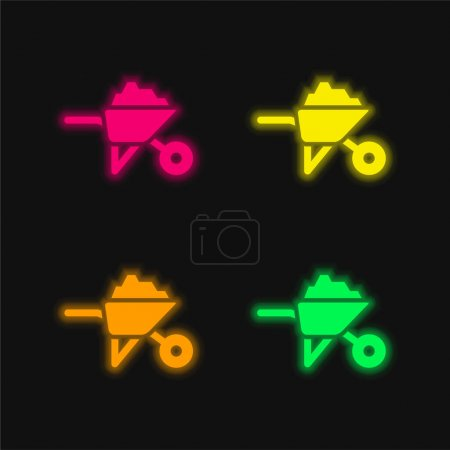 Illustration for Barrow With Construction Materials four color glowing neon vector icon - Royalty Free Image