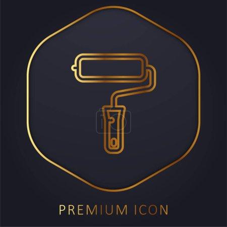 Illustration for Big Paint Roller golden line premium logo or icon - Royalty Free Image