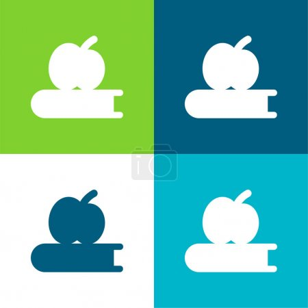 Photo for Book And Apple Flat four color minimal icon set - Royalty Free Image