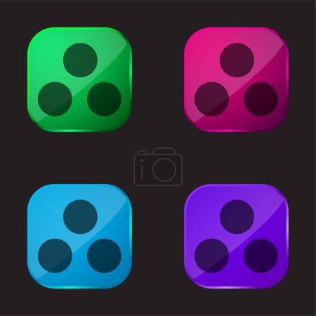 Illustration pour Munitions icône bouton en verre quatre couleurs - image libre de droit