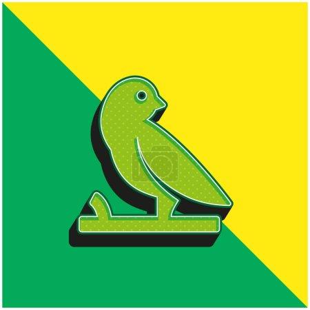 Bird On A Branch Green and yellow modern 3d vector icon logo
