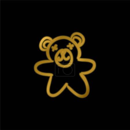 Ours Jouet dessiné à la main icône métallique plaqué or ou vecteur de logo