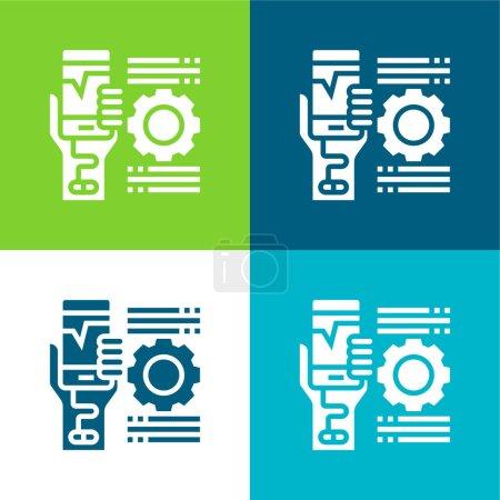 Addiction Ensemble d'icônes minimal plat quatre couleurs