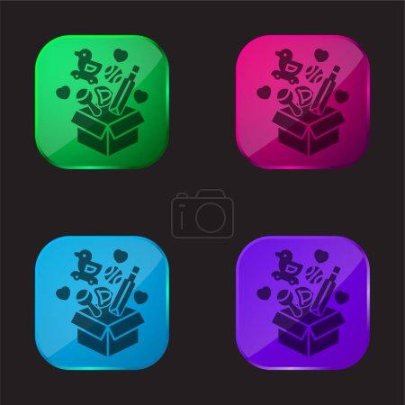 Box four color glass button icon