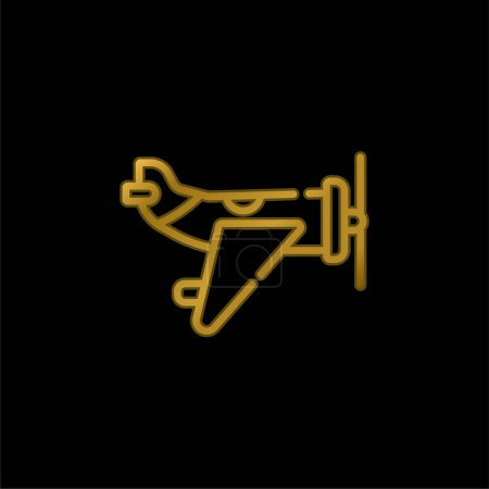 Illustration for Aircraft gold plated metalic icon or logo vector - Royalty Free Image