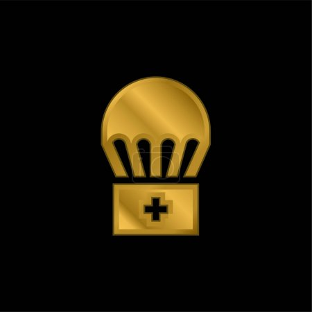 Illustration for Airdrop gold plated metalic icon or logo vector - Royalty Free Image