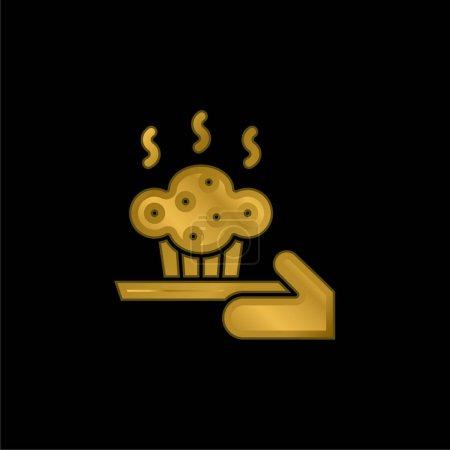 Illustration pour Cuisson plaqué or icône métallique ou logo vecteur - image libre de droit