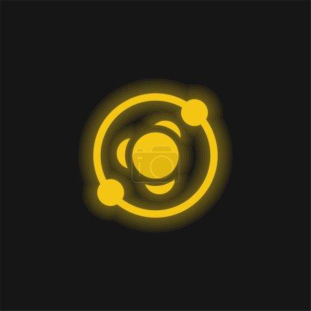 Illustration pour Structure atomique jaune brillant icône néon - image libre de droit