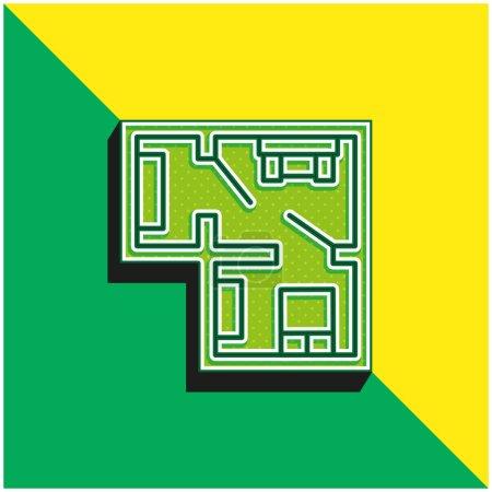 Photo pour Blueprint Logo vectoriel 3D moderne vert et jaune - image libre de droit