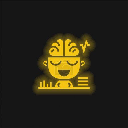 Photo for Brain yellow glowing neon icon - Royalty Free Image