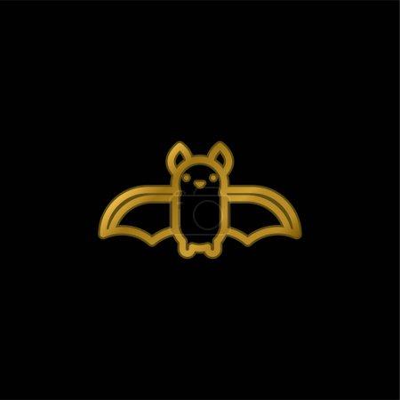 Illustration pour Plaqué or chauve-souris icône métallique ou vecteur de logo - image libre de droit
