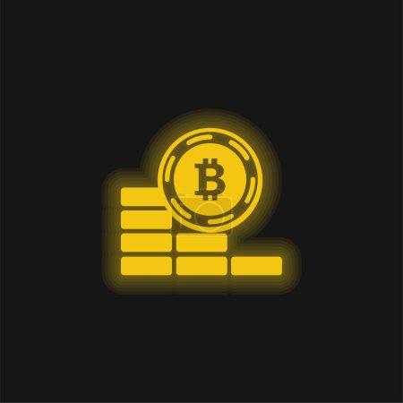 Bitcoin moneta idzie w dół żółty świecący neon ikona