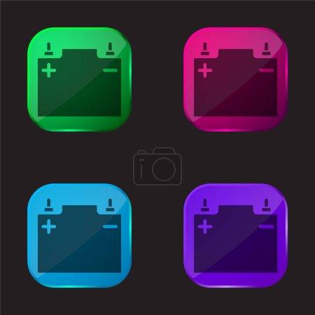 Illustration pour Batterie icône bouton en verre quatre couleurs - image libre de droit