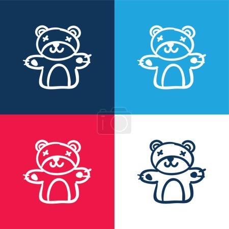 Photo pour Ensemble d'icônes minime ours jouet bleu et rouge quatre couleurs - image libre de droit