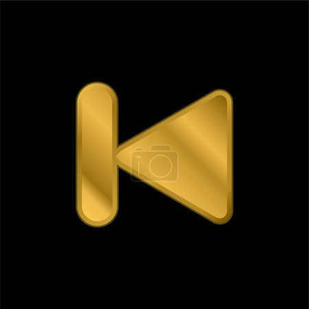 Illustration for Back gold plated metalic icon or logo vector - Royalty Free Image