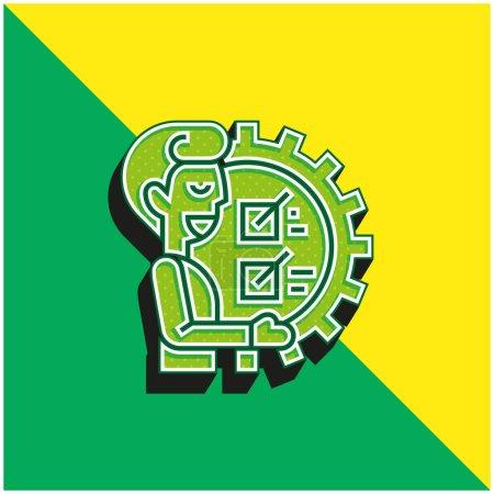Illustration pour Pouvoir Logo d'icône vectoriel 3D moderne vert et jaune - image libre de droit
