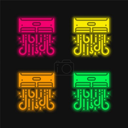 Illustration for Air Conditioner four color glowing neon vector icon - Royalty Free Image