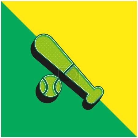 Photo pour Baseball Logo vectoriel 3D moderne vert et jaune - image libre de droit