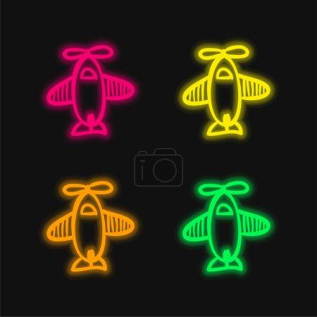 Jouet dessiné à la main d'avion de vue de dessus icône vectorielle néon rayonnante de quatre couleurs