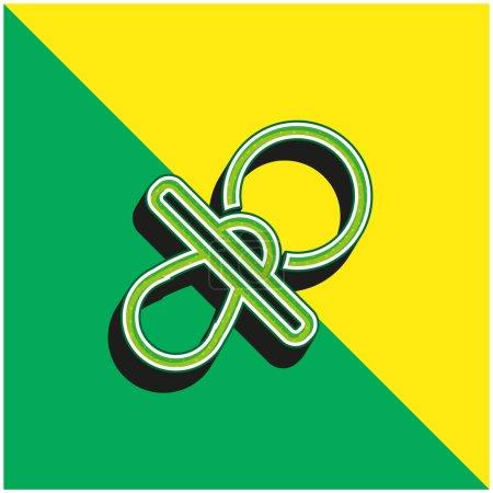 Photo pour Bébé Sucette contour Vert et jaune icône vectorielle 3d moderne logo - image libre de droit