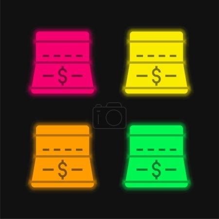Illustration pour Banque quatre couleurs rougeoyantes icône vectorielle néon - image libre de droit