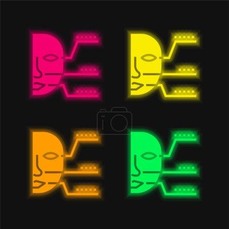 Illustration pour Identification biométrique icône vectorielle néon à quatre couleurs - image libre de droit