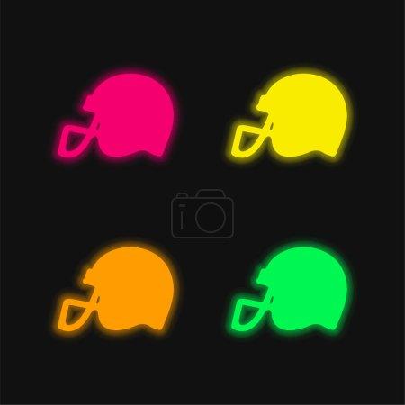 Illustration pour Casque de football américain Vue de côté Silhouette noire quatre couleurs brillant icône vectorielle néon - image libre de droit