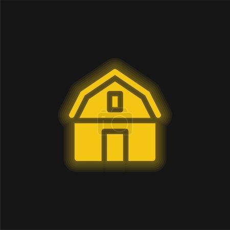 Photo pour Grange jaune brillant icône néon - image libre de droit