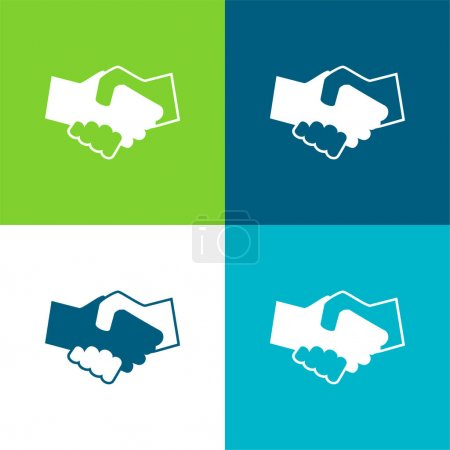 Black And White Shaking Hands Flat four color minimal icon set